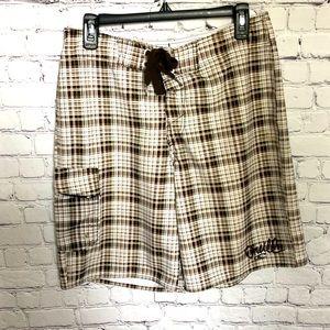 O'Neill Brown/White Plaid Board Shorts